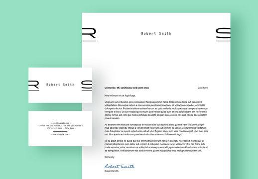 Minimalist Letterhead and Business Card Layout Set