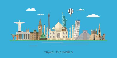 World landmarks travel vector illustration