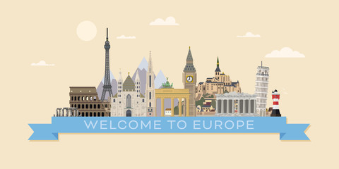 Welcome to Europe travel banner vector illustration