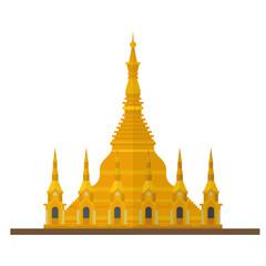Shwedagon Pagoda, Myanmar, flat design vector Icon