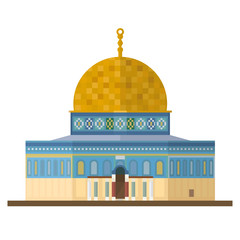 Dome of the Rock, Jerusalem, flat design vector Icon