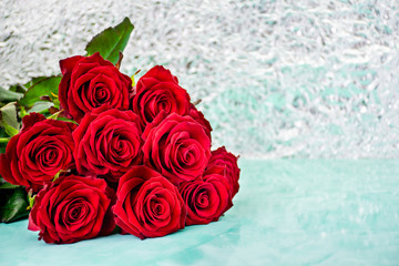 Red roses with boke background. copy space. 8 March Women s Mother Day