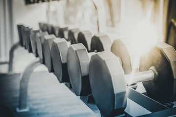 Dumbbells on rack in fitness center. Bodybuilding concept.