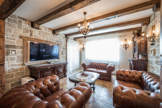 Leather seating set in luxury living room interior