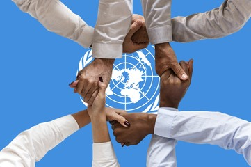 united nations flag, intergration of a multicultural group of young people