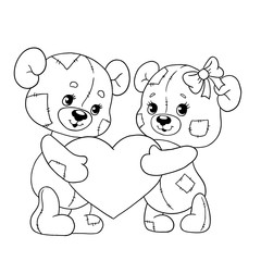 Cute bear cubs with a heart. Teddy bears for Valentine's day. Vector illustration. Line for coloring book.