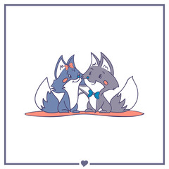 Happy foxes in love