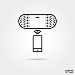Portable wireless speaker vector line icon