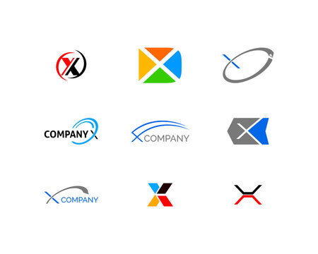 Set of Initial letter X logo template design