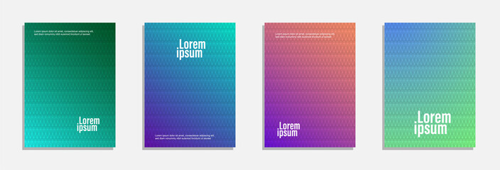 Colorful and modern cover design. Set of geometric pattern background