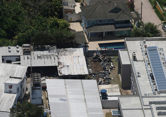 Aerial photo shows damage of the Flamengo soccer club's training center after a deadly fire