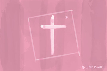 Christian worship and praise. Cross in watercolor style.  Text : Jesus is Alive.