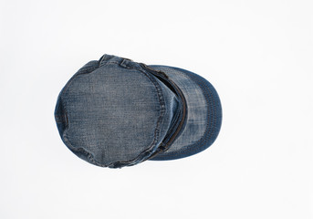 blue denim cap on a white isolated background