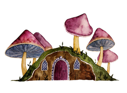 Cartoon gnome house in watercolor