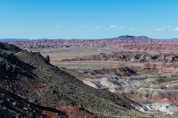 Colorful peaks and mountains of the Painted Desert in Petrified Forest National Park, Arizona