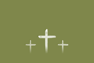Christian worship and praise. Crosses in watercolor style.