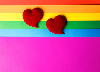 abstract background, lgbt community flag with two hearts