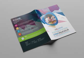 Bifold Brochure Layout with Abstract Elements