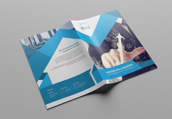 Business Brochure Layout with Blue Elements