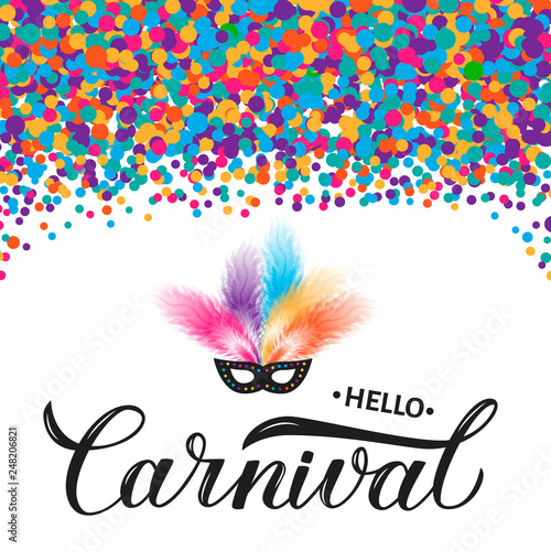 Carnival calligraphy lettering with colorful confetti, mask and