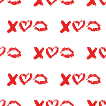 Lips print and XOXO written with red lipstick and hearts. XO and lipstick kiss seamless pattern. Hugs and kisses Vector illustration. Valentines day background.  Fashion, beauty and glamour concept.