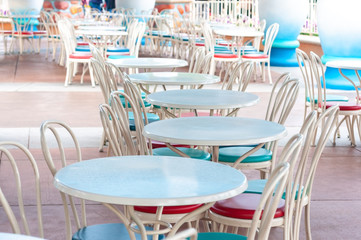 Set of round table with chair in canteen, clear table set of outdoor restaurant area.