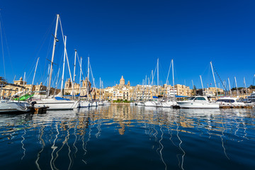 Yachts and Cityscape of Birgu, Malta