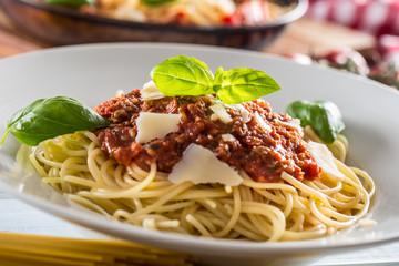 Close up italian pasta spaghetti bolognese in white plate