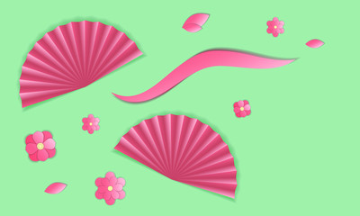 Two oriental fan and pink flowers. Vector illustration
