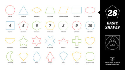 Color editable stroke outline basic simple shape icon set with geometric figures: circle, triangle, square, pentagon, hexagon, heptagon, octagon, nonagon, decagon and more.