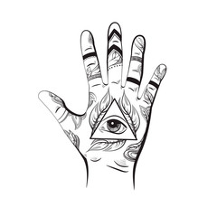 All seeing eye pyramid symbol. New World Order. Hand drawn Eye of Providence. Alchemy, religion, spirituality, occultism. Template for poster business card and banner. Conspiracy theory.