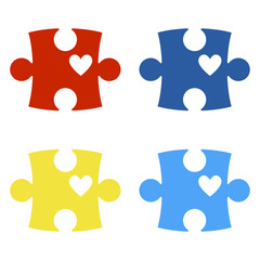 Autism Awareness Puzzle Pieces - Colorful puzzle pieces isolated on white background