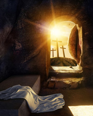 He is Risen. Empty Tomb With Shroud. Crucifixion at Sunrise. -3d rendering. - Illustration.