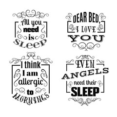 Collection of quote typographical background with unique hand drawn curles and swirls. Template for business card, poster, banner, print for t-shirt, sweatshirt, bag.