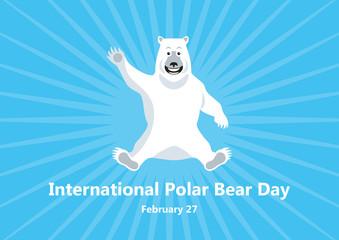 International Polar Bear Day vector. Polar Bear cartoon character. Cute smiling bear. Important day