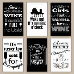 Collection of quote typographical background about champagne and wine. Template for business card, poster and banner