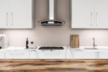 White countertops in beige kitchen blur