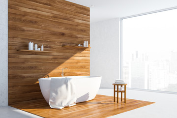 White and wood loft bathroom corner