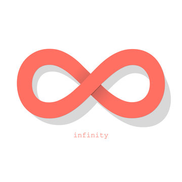 Infinity symbol Coral color on a white background