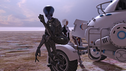Illustration of extraterrestrials and a human standing near a space buggy with one alien checking the engine with the other sitting on a fender. Wall mural