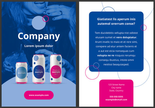 Flyer Design Layout with Blue and Pink Accents