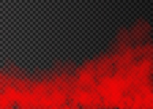Red smoke  isolated on transparent background.