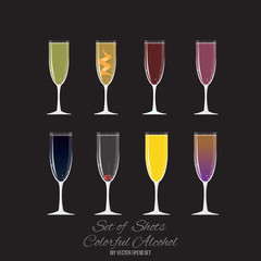 Set of 8 cocktails in champagne glass