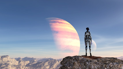Illustration of an extraterrestrial wearing a spacesuit standing on a mountaintop looking at the blue sky on an alien planet. Wall mural