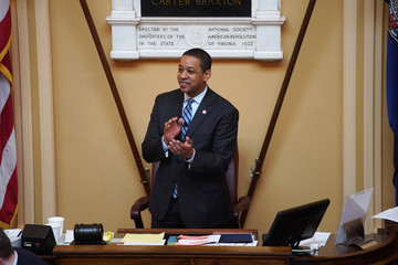Justin Fairfax, the Lieutenant Governor of Virginia, opens the state's Senate meeting during a session of the General Assembly in Richmond