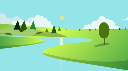 Public park with trees and sky background design.Landscape view river with park and skyscrapers Vector. Beautiful fields landscape with a dawn, green hills, pond and bright color blue sky, backgroud