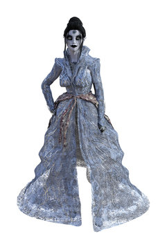 Illustration of a zombie woman wearing a flowing gauzy dress on a white background.