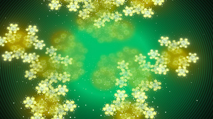 Ethereal blooms in green nebula abstract background