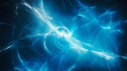 Blue glowing high energy plasma force field in space abstract background