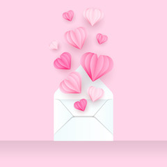 Valentine's Envelope with Hearts Paper Cut Style. Vector Illustration